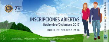 Inscripciones en noviembre - Modalidad distancia y semipresencial - Inicio febrero/marzo 2018